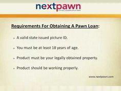 NextPawn is a licensed Online Pawn Shop providing instant Collateral (Pawn) Loans on high value assets like Jewelry, Gold, Diamonds, Estate Jewelry, Guns, Watches and Rifles etc. To apply for a Loan in Houston, call NextPawn at (855) 698-7296 now. For more information, visit: http://www.nextpawn.com