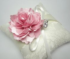 Lovely Wedding Ring Pillow Indian Pink Bloom On Cream Lace 35 00 Via