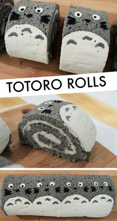 DIY Projects With Drinking Straws Totoro Rolls made on Kawaii Treats!Totoro Rolls made on Kawaii Treats! Cute Desserts, Dessert Recipes, Cute Food, Yummy Food, Paleo Food, Paleo Diet, Kawaii Dessert, Japanese Sweets, Japanese Candy