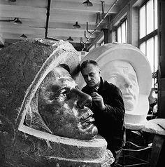 Yuri Gagarin: Soviet Sculptor Carving Head of Yuri Gagarin.  1962