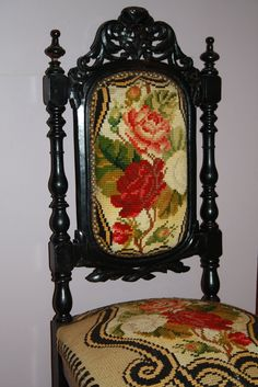 V is for Vintage: Vintage Floral Needlepoint Tapestry Chair