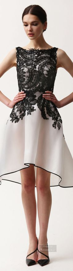 Naeem Khan.~ Pre-Fall Black + White Hi Low Embroidered Midi Dress 2015.