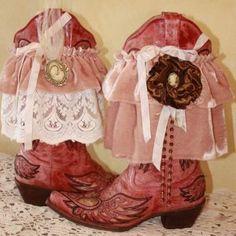 Boot Topper Pink Velvet