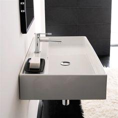 Firkantet håndvask til bordplade eller væg