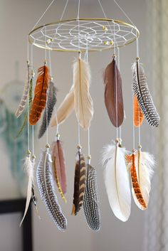 Woodland Nursery Decor, Dreamcatcher Baby Mobile, Native American Style Decor, Feather Baby Mobile, Tribal Ivory BrownNursery Decor,