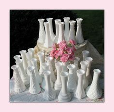 Vintage Milk Glass Bud Vase Collection of  Thirty by ShiftingYears, $120.00