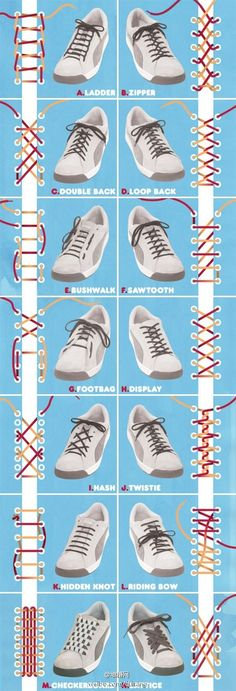 The Art of Tying Shoe Laces...I was so into funky tying techniques in middle school. That's right, totes a tween trendstarter