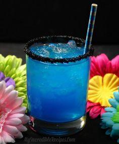 Hookah Butterfly Cocktail! 1 oz. Malibu Rum, 1 oz. Blue Curacao, 1 oz. Cherry vodka, Sprite, ice, black sanding sugar and simple syrup