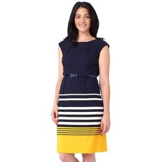Women's ILE New York Striped Sheath Dress ($50) ❤ liked on Polyvore featuring dresses, yellow, navy dress, yellow sheath dress, navy stripe dress, blue striped dress and navy striped dress