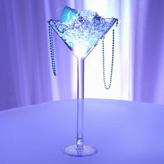 Tall Set of 4 Plastic Martini Glass Vase Wedding Table Decor Centerpiece - With Fillable Stem - ChairCoverFactory Martini Glass Centerpiece, Glass Centerpieces, Centerpiece Decorations, Glass Vase, Wedding Decorations, Centerpiece Wedding, Tall Centerpiece, Glass Bowls, Wedding Vases