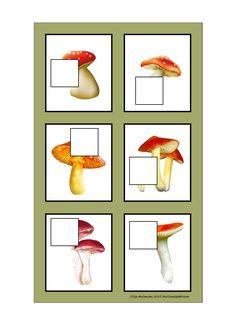 Board for the mushroom puzzle game. Find the belonging tiles on Autismespektrum on Pinterest. By Autismespektrum.