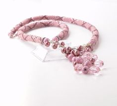Beaded Rope Necklace Tassel Necklace Rink Rose Lariat by JPJbeaded, $98.00