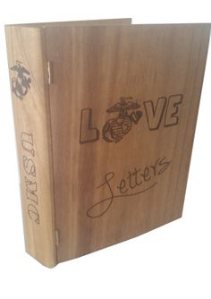 USMC Love Letters Book Like Keepsake Box - Marine Corps. Store letters, photos and small mementos in this hand burned book-like keepsake box. I want one but army Usmc Love, Marine Love, Military Love, Camp Letters, Book Letters, Military Girlfriend, Military Humor, Military Spouse, Navy Life