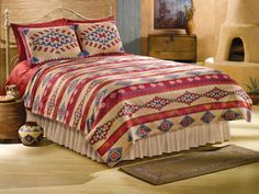 Southwest Fleece Coverlet Bedding Multi Full/Queen by Collections Etc Aztec Bedroom, Boho Bedroom Diy, Coverlet Bedding, Bedding Sets, Bedspread, Comforters, Southwestern Style Decor, Southwestern Decorating, Cowgirl Bedroom