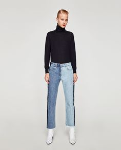 Image 1 of CONTRASTING JEANS from Zara