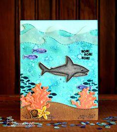Larissa Heskett Designs: Celebrating Shark Week with Newton's Nook Designs!! =)   Shark Bites stamp set by Newton's Nook Designs #newtonsnook #handmade
