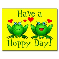 Have a Hoppy Day! Happy cute cartoon frogs Twitchy and Beulah, with red hearts, on a cheerful bright yellow postcard.