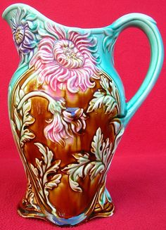 AUTHENTIC FRENCH ONNAING MAJOLICA CHRYSANTHEMUMS PITCHER C 1880
