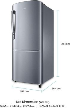 Direct Cool, Single Door: Capacity 212 L: Warranty: 1 year on product, 10 years on compressor Energy Rating: 3 Star Inverter Compressor – Energy efficient, less noise & more durable Shelf Type: Toughened Glass Samsung, Single Doors, Top Freezer Refrigerator, Energy Efficiency, Elegant, 10 Years, Shelf, Kitchen Appliances