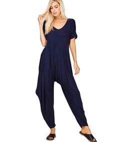 8280b0a1baea Women s Comfy Casual Short Sleeves Harem Long Pants Jumpsuits With Pockets  - Navy - CQ189K9ZGML