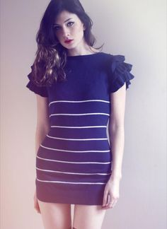 navy striped ruffle sleeve dress