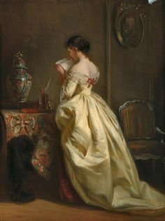 """The letter"" Attributed to Eugène Accard (French, 1824-1888) oil on canvas; 30.5 x 23.5 cm Private Collection"
