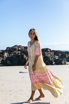 Our Oracle Maxi Dress in a beautiful Golden mustard and musk pink floral border fabric Bohemian Summer Dresses, Boho Dress, Modern Bohemian, Bohemian Style, Floral Border, Australian Fashion, Fashion Labels, Printing On Fabric, Mustard