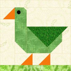 "Patch Duck ~ 12""sq quilt block (or cute cushion!), $4 digital pattern download 