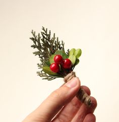 A festive boutonniere for a winter wedding.