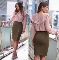 Pink ruffled blouse, olive pencil skirt.