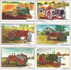 NEW 1930'S FARM TRACTORS LAMINATED PLACEMATS / WALL HANGINGS SET-6  M-H OLIVER #JDeereMHFarmallAllisCCaseOliver