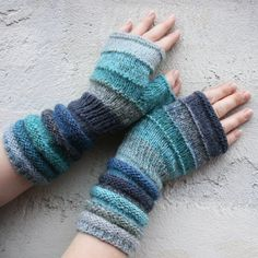 Baltic Sea Striped Hand Knit Fingerless Gloves with upcycled yarn and kid mohair
