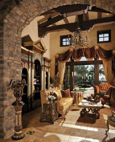 Bold and beautiful trusses, beams and corbels! Could be duplicated with faux wood beams/corbels.