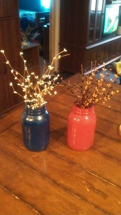 Made these with spray paint and mason jars