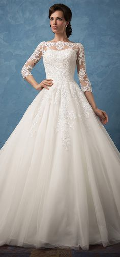 Charming Tulle & Satin Bateau Neckline A-Line Wedding Dresses With Lace Appliques