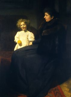 """Portrait of Mrs Oderfeld with her Daughter"" (1899) by Józef Pankiewicz (Polish,1866-1940), oil on canvas, 125.5 x 90 cm, National Museum, Warsaw."