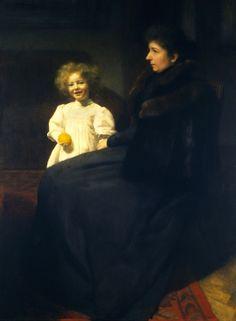 """Portrait of Mrs Oderfeld with her Daughter"" (1899) byJózef Pankiewicz (Polish,1866-1940), oil on canvas, 125.5 x 90 cm, National Museum, Warsaw."