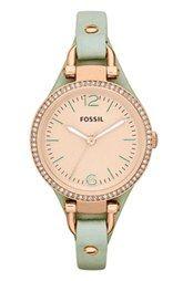 Fossil 'Georgia' Crystal Bezel Leather Strap Watch, 32mm