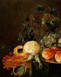 Jan Davidsz de Heem,  1606 Utrecht - 1683 Antwerp STILL LIFE WITH GLASS GOBLET, BUTTERFLY,  LEMON AND GRAPES TO 1652