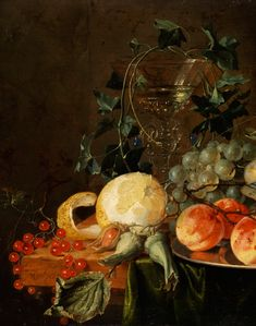 Jan Davidsz de Heem,  1606 Utrecht - 1683 Antwerp STILL LIFE WITH GLASS GOBLET, BUTTERFLY,  LEMON AND GRAPES TO 1652