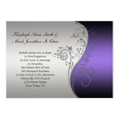 Custom Elegant Purple and Ivory Wedding Invitation created by dmboyce. This invitation design is available on many paper types and is completely custom printed. Gold Wedding Stationery, Silver Wedding Invitations, Wedding Invitation Sets, Invitation Design, Custom Invitations, Wedding Cards, Elegant Invitations, Gold Invitations, Personalized Invitations