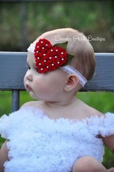 Red Heart Headband Wool Felt Headband by SwankyPickleBoutique
