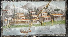 Landscape with villa and boat - painting style, julio-claudian age, AD - The house of Marcus Lucretius Fronto at Pompeii, recently opened - Plan: letter h Greek History, Roman History, Ancient History, Ancient Pompeii, Pompeii And Herculaneum, Fresco, Boat Painting, Mural Painting, Tempera