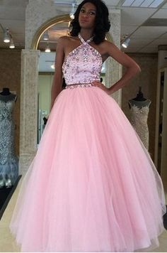 Pink Prom Dress,Two Piece Prom Dress,Beaded Prom Dress,Long #prom #promdress #dress #eveningdress #evening #fashion #love #shopping #art #dress #women #mermaid #SEXY #SexyGirl #PromDresses