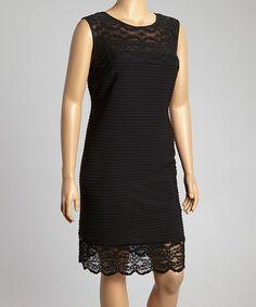 Look at this #zulilyfind! Black Studded Lace Sleeveless Dress - Plus by R&M Richards #zulilyfinds