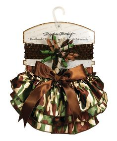 This Camo Ruffle Diaper Cover & Headband - Infant is perfect! #zulilyfinds