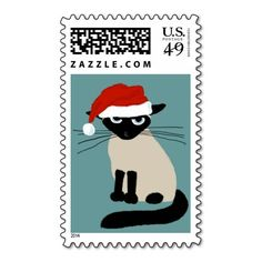 Siamese Santa Clause - Funny Christmas Cat Postage Stamp #holidaystamps