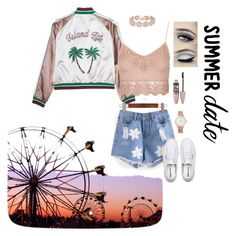 """""""Save that date"""" by mollyhatch on Polyvore featuring Topshop, BaubleBar, Superga, Larsson & Jennings, Maybelline, statefair and summerdate"""