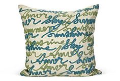 One Kings Lane - Molly Wood - Sayings Outdoor Pillow - to stay comfy on the beach chair. #OKLsummer