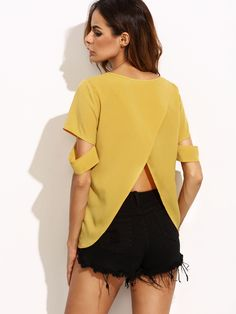 Shop Yellow Split Back Ripped Sleeve Top online. SheIn offers Yellow Split Back Ripped Sleeve Top & more to fit your fashionable needs.